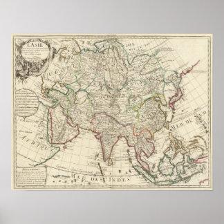 Mapa 1700 de Asia Posters