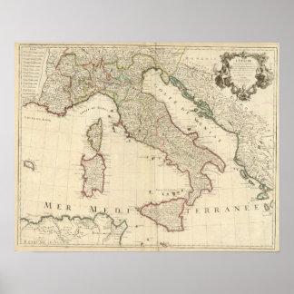 Mapa 1700 de Italia Poster
