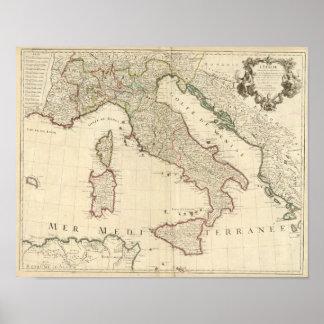 Mapa 1700 de Italia Posters