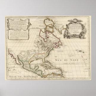 Mapa 1700 de Norteamérica Poster