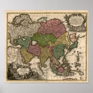 mapa 1700's de Asia Impresiones