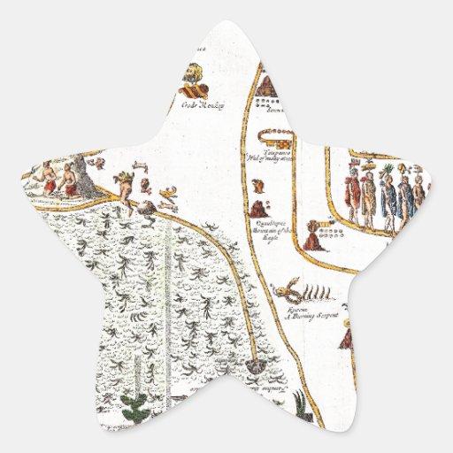 Mapa 1704 de Gemelli de la migración azteca de Calcomania Forma De Estrella Personalizadas
