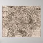 Mapa 1705 de París, Francia Poster