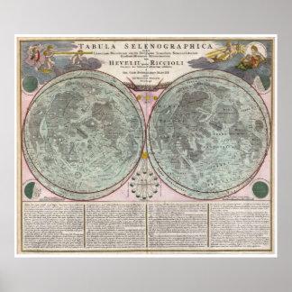 Mapa 1707 de la luna póster