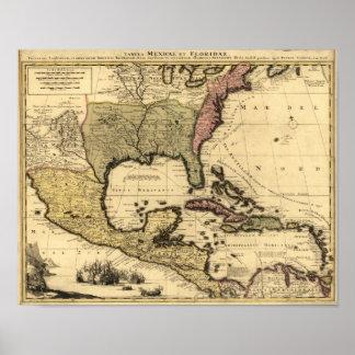 Mapa 1710 de México, del Caribe y de Norteamérica Póster