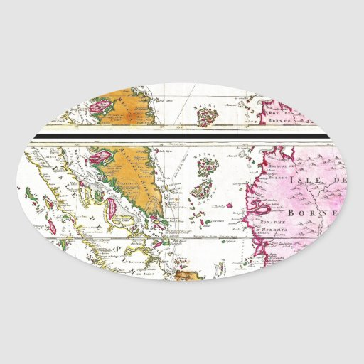 Mapa 1710 de Ottens de Asia sudoriental Singapur Pegatina Ovalada