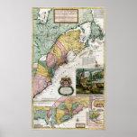 Mapa 1715 de colonias británicas en América Poster