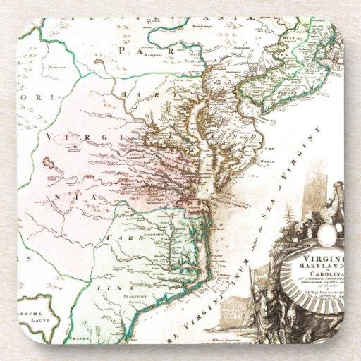 Mapa 1715 de Homann de Carolina Virginia Maryland Posavasos De Bebidas