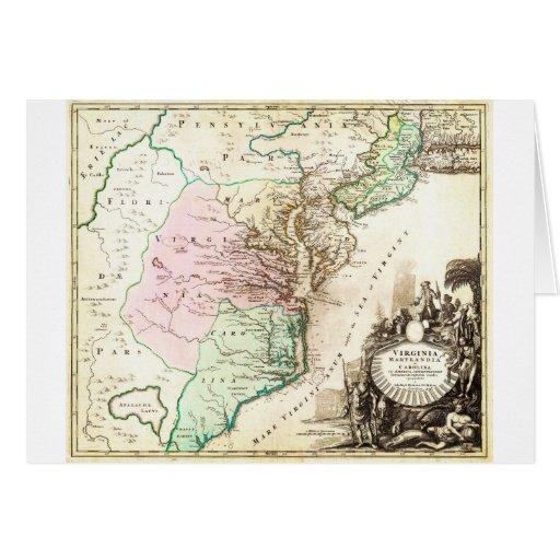 Mapa 1715 de Homann de Carolina Virginia Maryland Tarjetas