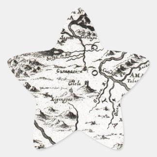 Mapa 1719 del mazo de la fuente del Nilo Ethiopi Calcomanías Forma De Estrella
