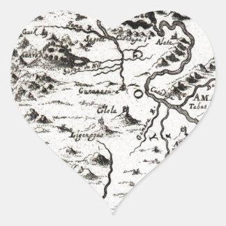 Mapa 1719 del mazo de la fuente del Nilo Ethiopi Pegatina En Forma De Corazón