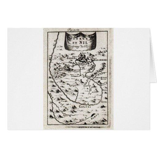 Mapa 1719 del mazo de la fuente del Nilo Ethiopi Tarjetas