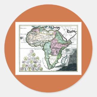 Mapa 1720 de África Vetus Pegatina Redonda