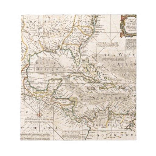 Mapa 1720 de las Antillas de Manuel Bowen Blocs De Papel