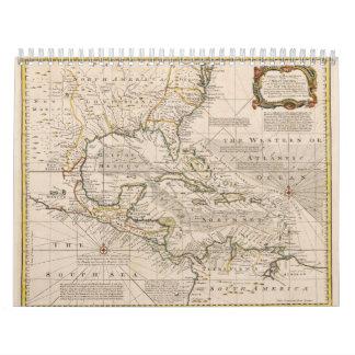 Mapa 1720 de las Antillas de Manuel Bowen Calendarios