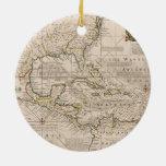 Mapa 1720 de las Antillas de Manuel Bowen Ornamentos De Navidad
