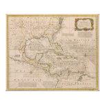 Mapa 1720 de las Antillas de Manuel Bowen Impresión En Lienzo Estirada