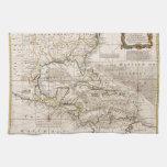 Mapa 1720 de las Antillas de Manuel Bowen Toallas De Cocina