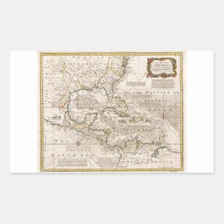 Mapa 1720 de las Antillas de Manuel Bowen Pegatina Rectangular