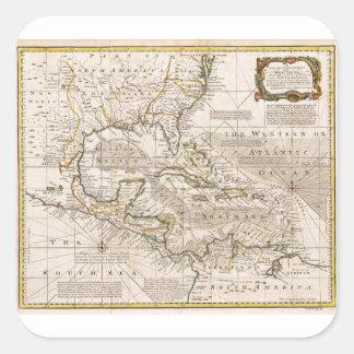 Mapa 1720 de las Antillas de Manuel Bowen Pegatina Cuadrada