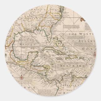 Mapa 1720 de las Antillas de Manuel Bowen Pegatina Redonda