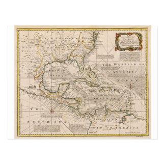 Mapa 1720 de las Antillas de Manuel Bowen Postal