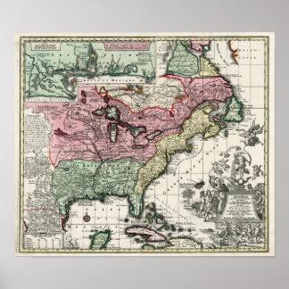 Mapa 1720 de las colonias de Norteamérica Póster