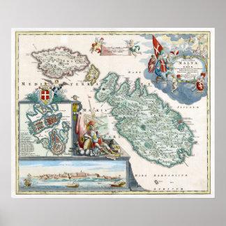 Mapa 1720 de Malta Póster