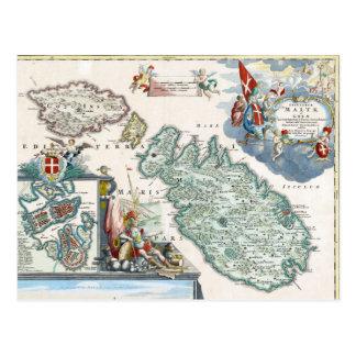Mapa 1720 de Malta Tarjeta Postal