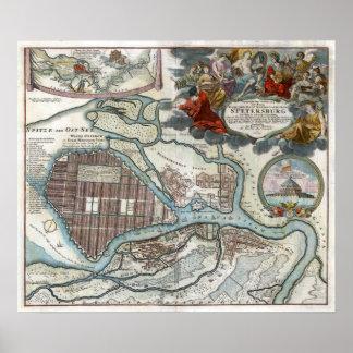 Mapa 1720 de St Petersburg Póster