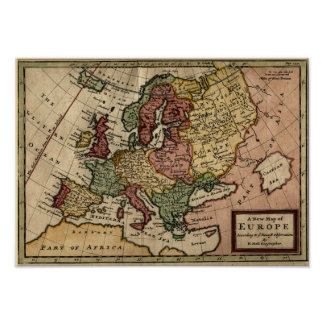 Mapa 1721 de Europa Posters