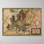 Mapa 1721 de Europa Póster