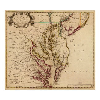 Mapa 1721 de Virginia y de Maryland Poster