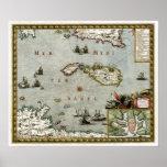 Mapa 1723 de Malta Poster