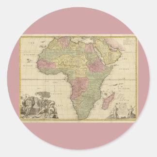 Mapa 1725 de África del vintage Pegatina Redonda