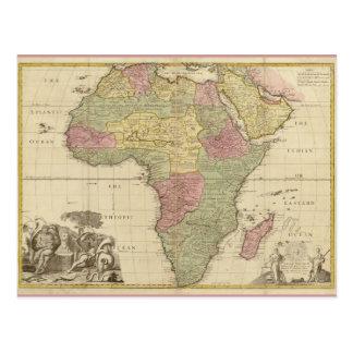 Mapa 1725 de África del vintage Postal