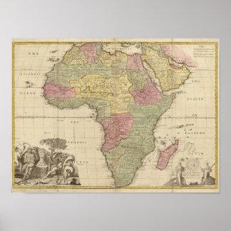 Mapa 1725 de África del vintage Póster