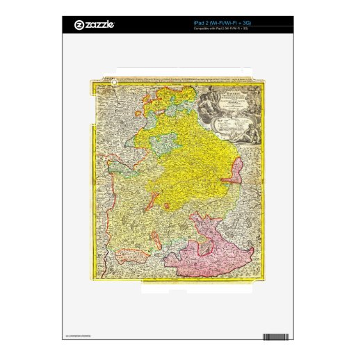 Mapa 1728 de Homann de Baviera Alemania Geographic Calcomanías Para iPad 2