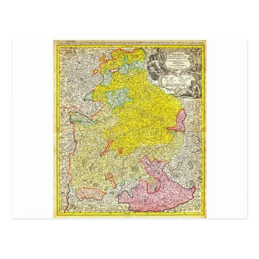 Mapa 1728 de Homann de Baviera Alemania Tarjeta Postal
