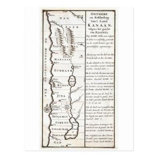 Mapa 1729 de Schryver de Israel que muestra a 12 Tarjetas Postales