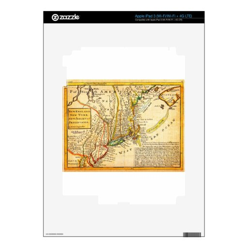 Mapa 1729 del Moll de Nueva York Nueva Inglaterra  iPad 3 Pegatinas Skins
