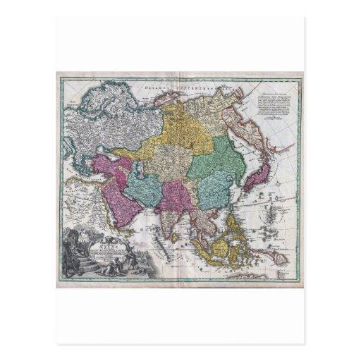 Mapa 1730 de C Homann de Asia Geographicus Asiae Tarjetas Postales