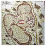 Mapa 1730 de calle o plan de Jerusalén Geographicu Servilletas Imprimidas