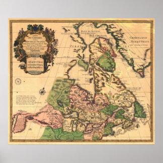 Mapa 1730 de Canadá Póster