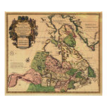 Mapa 1730 de Canadá Posters