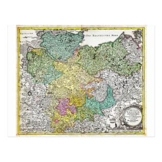 Mapa 1730 de Homann de un Saxond más bajo Berlín Postal