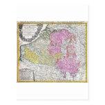 Mapa 1730 de los herederos de Homann de Bélgica y  Tarjetas Postales