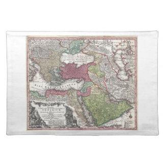 Mapa 1730 de Seutter de Turquía imperio otomano Manteles Individuales