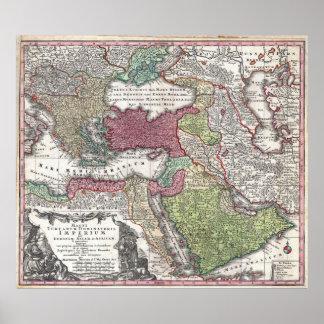 Mapa 1730 de Seutter de Turquía imperio otomano Impresiones