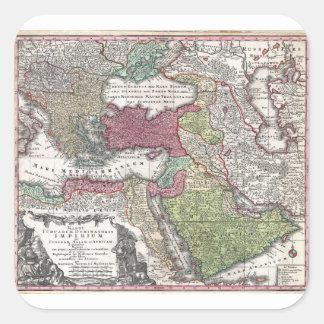 Mapa 1730 de Seutter de Turquía imperio otomano Pegatinas Cuadradases